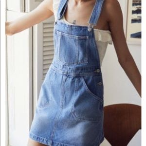 urban outfitters denim overalls dress